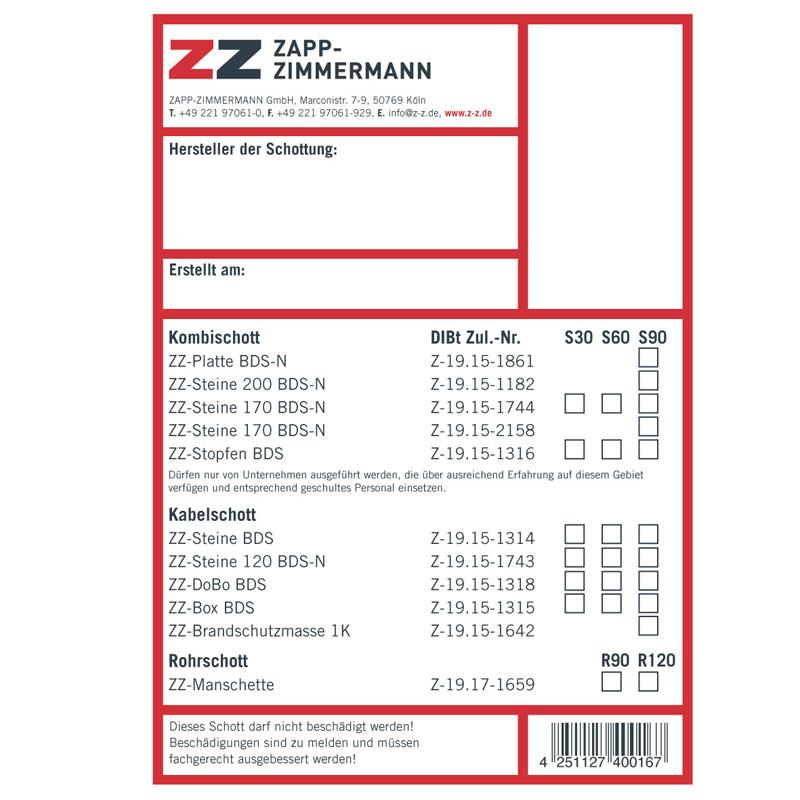 ZZ Kennzeichnungsschilder